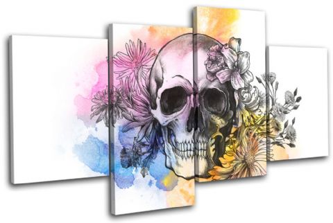 Tattoo Skull Grunge Floral Graffiti - 13-0131(00B)-MP04-LO